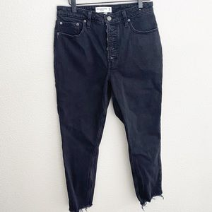 Abercrombie Black Button Skinny High Rise Jeans
